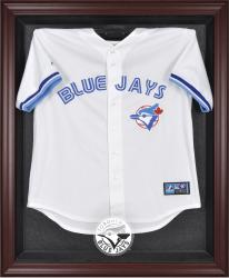 Toronto Blue Jays Mahogany Framed Logo Jersey Display Case - Mounted Memories