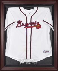 Atlanta Braves Mahogany Framed Logo Jersey Display Case - Mounted Memories