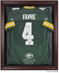 Green Bay Packers Brett Favre Record Breaker Mahogany Framed Jersey Display Case - Mounted Memories