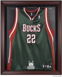 Milwaukee Bucks Mahogany Framed Team Logo Jersey Display Case - Mounted Memories