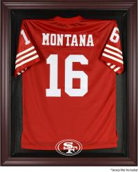 San Francisco 49ers Mahogany Frame Jersey Display Case - Mounted Memories