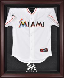 Miami Marlins Mahogany Framed Logo Jersey Display Case - Mounted Memories