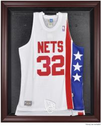 New Jersey Nets Mahogany Framed Team Logo Jersey Display Case - Mounted Memories