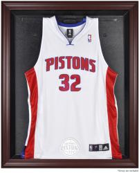 Detroit Pistons Mahogany Framed Team Logo Jersey Display Case - Mounted Memories