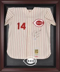 Cincinnati Reds Mahogany Framed Logo Jersey Display Case - Mounted Memories