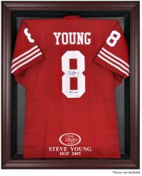 San Francisco 49ers Steve Young Mahogany Frame Jersey Display Case - Mounted Memories