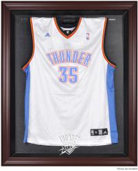 Oklahoma City Thunder Mahogany Framed Team Logo Jersey Display Case - Mounted Memories