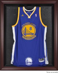 Golden State Warriors Mahogany Framed Team Logo Jersey Display Case - Mounted Memories