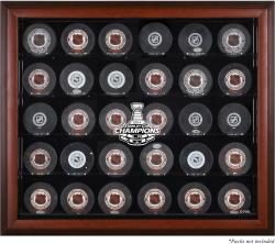 Los Angeles Kings 2014 Stanley Cup Champions Mahogany Framed 30-Puck Logo Display Case - Mounted Memories