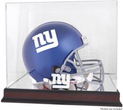 New York Giants Mahogany Helmet Logo Display Case with Mirror Back - Mounted Memories