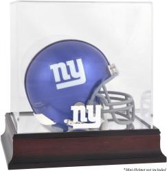 New York Giants Mahogany Logo Mini Helmet Display Case - Mounted Memories