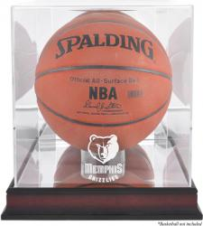 Memphis Grizzlies Mahogany Team Logo Basketball Display Case with Mirrored Back - Mounted Memories