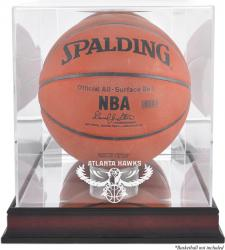 Atlanta Hawks Mahogany Team Logo Basketball Display Case with Mirrored Back - Mounted Memories
