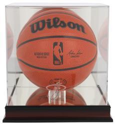 Miami Heat Mahogany Team Logo Basketball Display Case with Mirrored Back