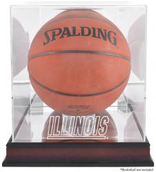 Illinois Fighting Illini Mahogany Antique Finish Basketball Display Case with Mirror Back - Mounted Memories