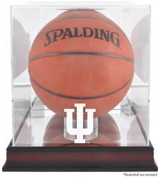 Indiana Hoosiers Mahogany Antique Finish Basketball Display Case with Mirror Back