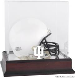 Indiana Hoosiers Mahogany Logo Mini Helmet Display Case with Mirror Back