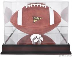 Iowa Hawkeyes Mahogany Base Logo Football Display Case with Mirror Back
