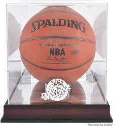 Utah Jazz Mahogany Team Logo Basketball Display Case with Mirrored Back