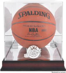 Utah Jazz Mahogany Team Logo Basketball Display Case with Mirrored Back
