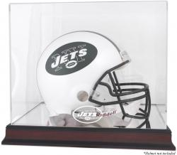 New York Jets Mahogany Helmet Logo Display Case with Mirror Back