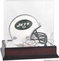 New York Jets Mahogany Logo Mini Helmet Display Case - Mounted Memories
