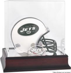 New York Jets Mahogany Logo Mini Helmet Display Case
