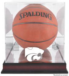 Kansas State Wildcats Mahogany Antique Finish Basketball Display Case with Mirror Back - Mounted Memories