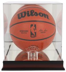 New York Knicks Mahogany Team Logo Basketball Display Case with Mirrored Back
