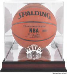 New York Knicks Mahogany Team Logo Basketball Display Case with Mirrored Back