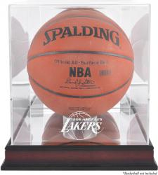 Los Angeles Lakers Mahogany Team Logo Basketball Display Case with Mirrored Back - Mounted Memories