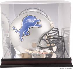 Detroit Lions Mahogany Helmet Logo Display Case with Mirror Back