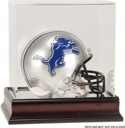 Detroit Lions Mahogany Logo Mini Helmet Display Case - Mounted Memories