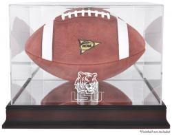 LSU Tigers Mahogany Base Logo Football Display Case with Mirror Back - Mounted Memories