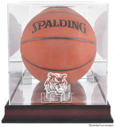 LSU Tigers Mahogany Antique Finish Basketball Display Case with Mirror Back - Mounted Memories