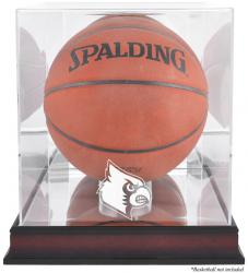 Louisville Cardinals Mahogany Antique Finish Basketball Display Case with Mirror Back - Mounted Memories