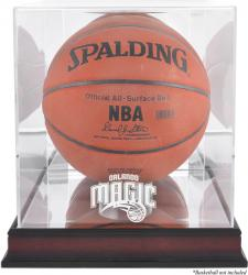 Orlando Magic Mahogany Team Logo Basketball Display Case with Mirrored Back