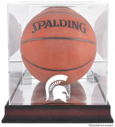 Michigan State Spartans Mahogany Antique Finish Basketball Display Case with Mirror Back - Mounted Memories