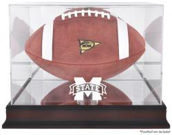 Mississippi State Bulldogs Mahogany Base Logo Football Display Case with Mirror Back - Mounted Memories