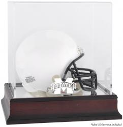 Mississippi State Bulldogs Mahogany Logo Mini Helmet Display Case with Mirror Back
