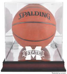 Mississippi State Bulldogs Mahogany Antique Finish Basketball Display Case with Mirror Back - Mounted Memories