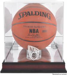 New Jersey Nets Mahogany Team Logo Basketball Display Case with Mirrored Back - Mounted Memories
