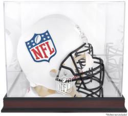NFL Mahogany Helmet Logo Display Case with Mirror Back - Mounted Memories