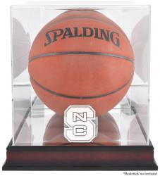 North Carolina State Wolfpack Mahogany Antique Finish Basketball Display Case with Mirror Back - Mounted Memories