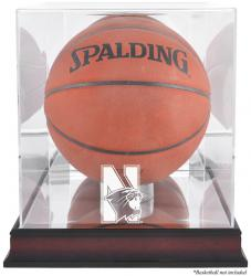 Northwestern Wildcats Mahogany Antique Finish Basketball Display Case with Mirror Back
