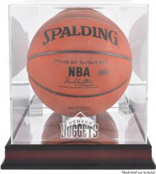 Denver Nuggets Mahogany Team Logo Basketball Display Case with Mirrored Back