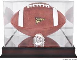 Ohio State Buckeyes Mahogany Logo Football Display Case with Mirror Back
