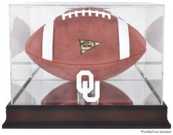 Oklahoma Sooners Mahogany Base Logo Football Display Case with Mirror Back - - Mounted Memories