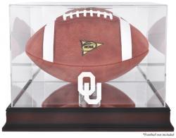 Oklahoma Sooners Mahogany Base Logo Football Display Case with Mirror Back -