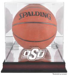 Oklahoma State Cowboys Mahogany Antique Finish Basketball Display Case with Mirror Back - Mounted Memories